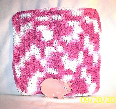 Pig  #875 42.2973  Ceramic PIG Spoon Rest / Crocheted Utilitty Cloth