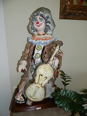 Clown porcelain figurine. Large clown statue, collectible, one of a kind! ITALY