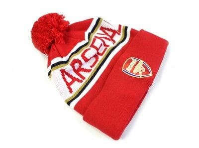 Official Embroidered Arsenal FC BOBBLE Crest Knitted Cuff Winter Hat Red/WHITE