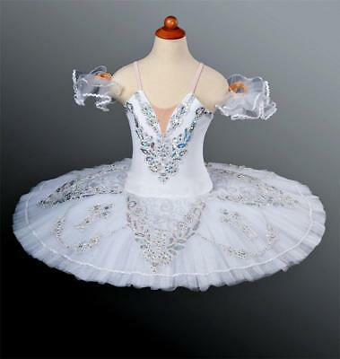 Classical Ballet Tutu Professional Competition White Silver Ex Display Photos L