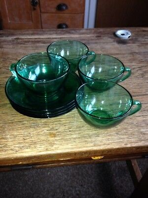 Vintage French Green Glass Arcoroc Cups And Saucers . Set Of 4.