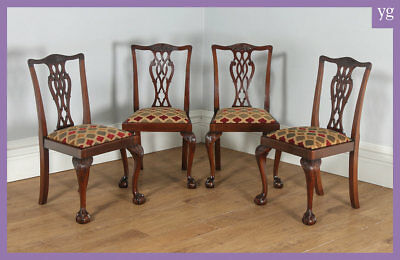 Antique English Set of 4 Four Georgian Chippendale Style Mahogany Dining Chairs