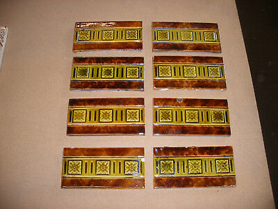 Original Victorian fireplace border tiles. Set of 8