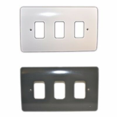 Mk K3633 Whi Gra 3 Gang Grid Plate Cover White Moulded Logic