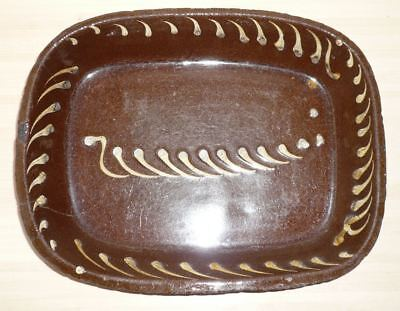 Antique old rustic country slipware pottery dish