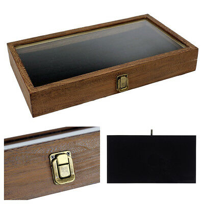 Jewelry Display Case Wood Glass Top Lid Velvet Black Pad Ring Necklace Knive Gun