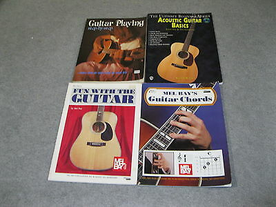 4 Guitar Book Lot - Acoustic Basics, Guitar Playing Step By Step & 2 Mel Bays