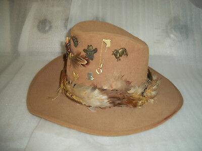 Vintage Sears Cowboy Tan Felt Hat W/feathers 6 7/8 & Western Pins Collection