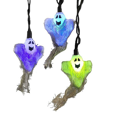 GHOST WITH BURLAP LIGHT SET LED COLOR CHANGING  Set Of 10 Decor Halloween
