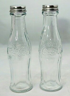 Coca Cola Contour Bottle Glass Clear Salt & Pepper Shakers Stocking Stuffer Gift