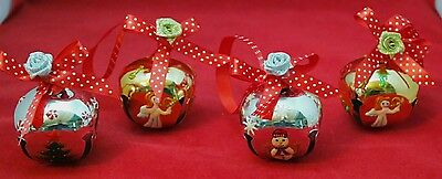 """Jingle Bell Christmas Silver Gold Hand Painted 2"""" Ornament Set 4 Gift Box"""