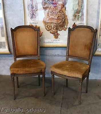 CHARMING PAIR OF FRENCH LOUIS XVI SIDE CHAIRS. OLD WORLD PATINA. L@@k!!