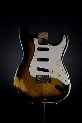 AYC | Strat Style Body Nitrocellulose Two Tone Sunburst aged in. Pickg. & Trem.