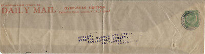 GB 1924 1/2d Green Part Daily Mail Newspaper Wrapper from London to Australia