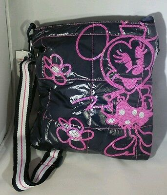 Medium Navy Blue MINNIE MOUSE Pink Sequin Purse Crossbody DISNEY PARK Gift