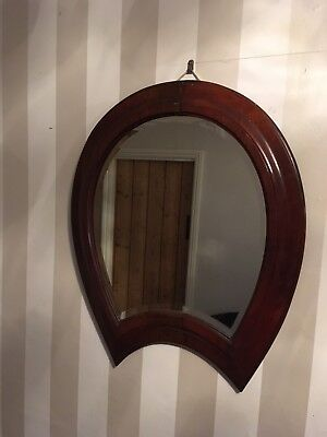 Vintage Horseshoe Shape Mahogany Bevelled Edge Mirror