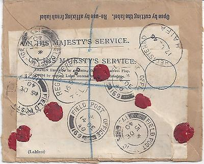 Palestine Uk 1940 Registered Field Post Reused Wartime Cover Routed From Fpo 169