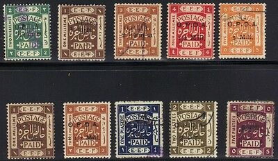 Palestine 1920 Coll Of 10 Palestine Fiscals Ovptd Opda In Black Or Gold W/values