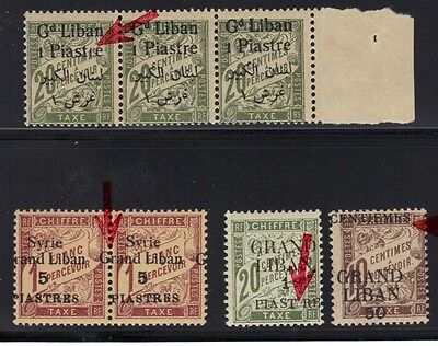 LEBANON-SYRIA 1920s POSTAGE DUES FOUR MAJOR ERRORS SYRIA SG D122 PAIR 5 pi GRAND