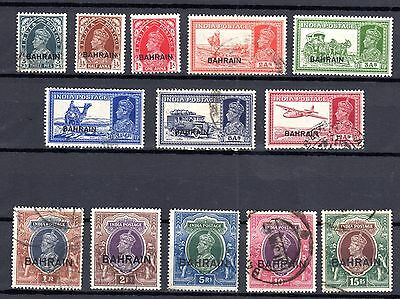 Bahrain 1938 King George Vi S.g.20//36 Set Of 13 To 15R (5 Unused)