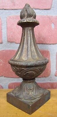 Antique Brass Flame Finial Ornate Original Old Architectural Hardware Element