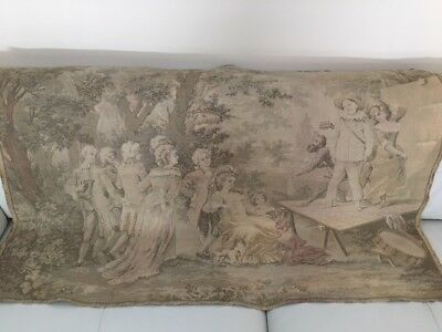 "Vintage Tapestry Garden Music Show Large 54"" w x 38"" h France Unmarked"