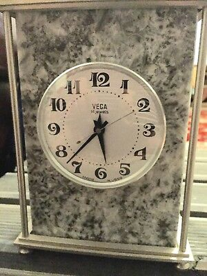 RUSSIAN VEGA GREY MARBLE AND BRASS 7-DAY CLOCK  PERFECT WORKING 1970s