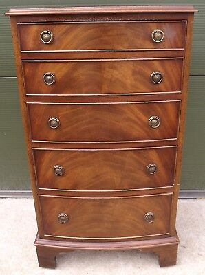 Antique Style Reprodux Mahogany Bow-Fronted Chest Of Drawers Bevan Funnell