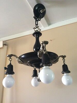 Antique Victorian 4 Light Pan Chandelier Rubbed Bronze Brass Accents 1920s