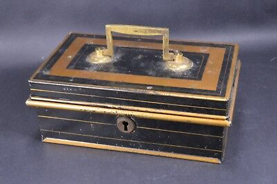Vintage Black & Gold Metal Cash Box Money Tin With Insert