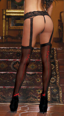 One Size Fits Most Womens Naughty Pantyhose With Attached Stockings