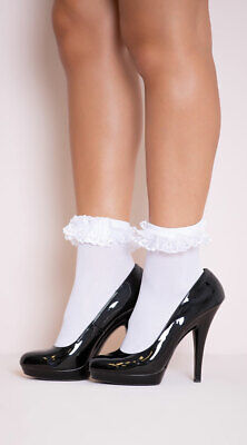 One Size Fits Most Womens Opaque Anklet With Ruffled Lace, School Girl Socks
