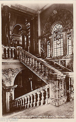 Postcard Belfast Northern Ireland marble staircase City Hall RP Robinson Cleaver