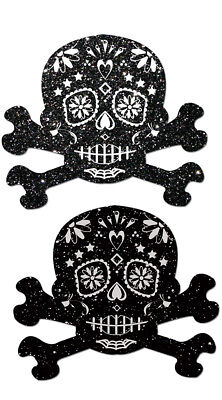 One Size Fits Most Womens Glitter Skull Candy Pastease, Candy Skull Nipple