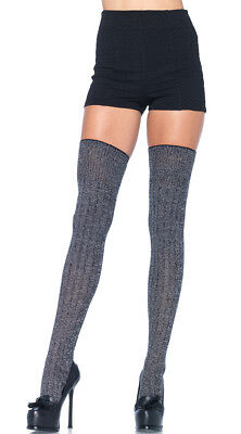 One Size Fits Most Womens Grey Good Girl Thigh High Stockings, Thick Grey Thigh
