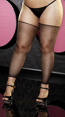 Plus Size Womens Plus Size Black Footless Fishnet Thigh Highs, Plus Size Black