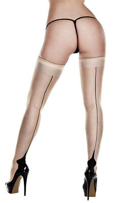 Queen Womens Plus Size Nude Cuban Heel Thigh High Stockings, Plus Size Black And