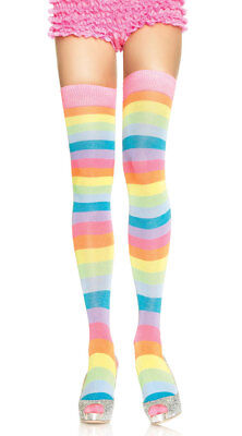 One Size Fits Most Womens Pastel Striped Thigh Highs