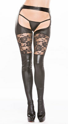 One Size Fits Most Womens Vinyl And Lace Garter Tights Set, Black Lace Tights