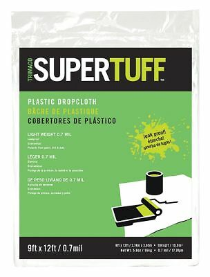 Supertuff Drop Cloth, LDPE, Clear, 9 ft.L, 0.7 mil - 03307