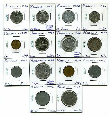 Romania : Lot of 14 different coins  1924 - 1982