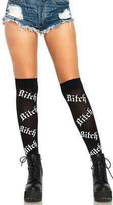 One Size Fits Most Womens Psycho Bitch Over The Knee Socks