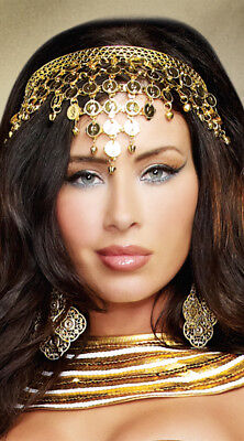One Size Fits Most Womens Gold Coin Crown, Egyptian Headband