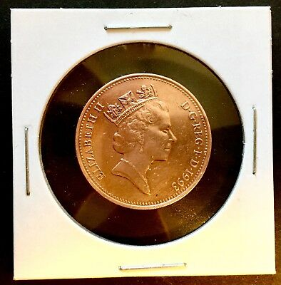 UNITED KINGDOM Queen Elizabeth II  D G REG F D • 1993 TWO PENCE COIN Circulated
