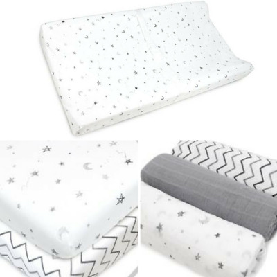 Jersey Knit Fitted Contoured Travel Changing Table Pad Elastic Cover 100% Cotton