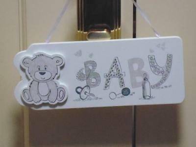 Teddy Bear Design Door Hanger  Sign With The Word Baby