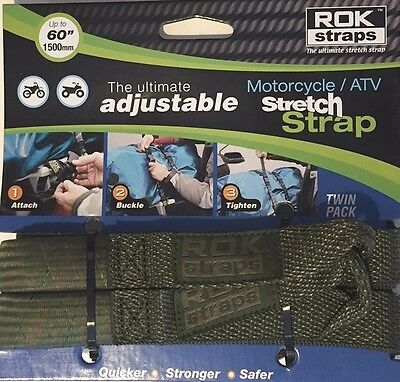 ROK Straps Motorcycle Adjustable Tie Down Straps 2 pk Green CAMO BMW Honda