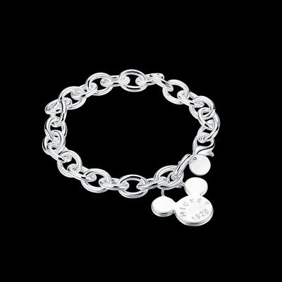 Fashion 925Sterling Solid Silver Jewelry Charm Chain Bracelet For Women H289