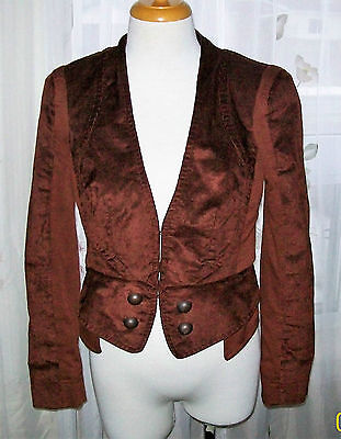 Women's blazer size 36 brown corduroy waist length blazer by Steps Fall jacket