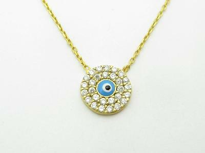 18k Yellow Gold Sterling Silver Pave White Sapphire Evil Eye Kabbalah Necklace